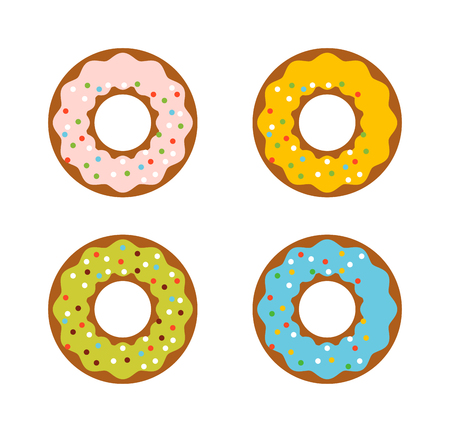 frosted: Cute sweet colorful donut. Chocolate or cream yummy cookie donuts food. Candy decoration color donut cake isolated fast food.