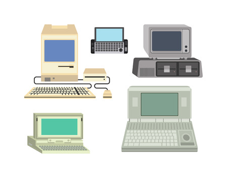 old pc: Old computer technology vector isolated. Telecommunication equipment old vintage pc monitor frame computer modern office network. Old computer device electronic equipment space.