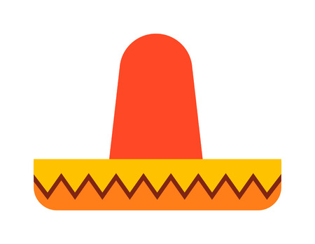 hispanic: Mexican hat sombrero traditional fashion fiesta symbol. Carnival accessory mexican hat isolated travel hispanic design. Festival fun national object mexican hat vector graphic mariachi symbol.