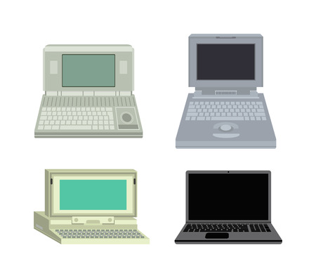 old office: Old computer technology vector isolated. Telecommunication equipment old vintage pc monitor frame computer modern office network. Old computer device electronic equipment space.