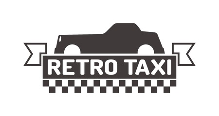 private service: Vintage and modern taxi label, taxi badge and design elements. Taxi service business sign template, icon, taxi corporate identity design element and vector object Illustration