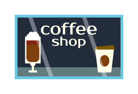 refreshment: Coffee shop showcase front vector window. Exterior horizontal windows empty fresh store front product presentation. Refreshment breakfast drink detail coffee shop showcase business design.