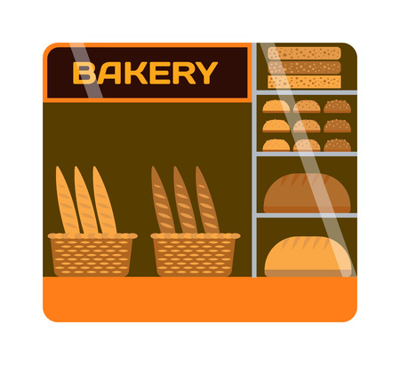 showcase: Bakery shop showcase interior bread market. Restaurant interior bakery shop showcase gourmet sale confectionery inside. Breakfast shelf bakery shop showcase business window vector fresh assortment. Illustration