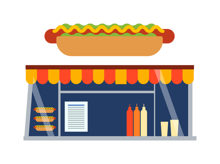 food shop: Stores and shop facade vector illustration. Traditional retro fast food shop showcase street building facade. City snack fast food shop showcase meal market window restaurant business. Illustration