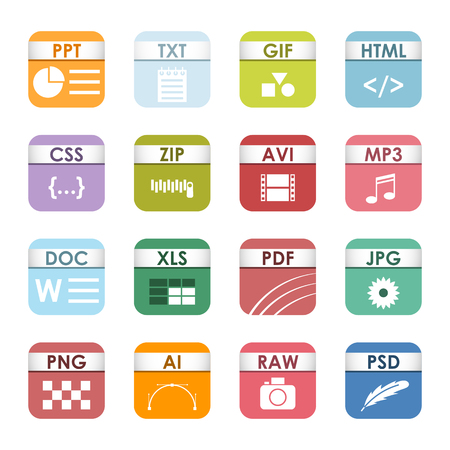 Simple vector square file types and formats labels icon set. File type format icons presentation document symbol. Audio extension file type icons graphic multimedia sign application software folder. Illustration