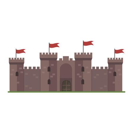fable: Cartoon fairy tale castle tower icon. Cute cartoon castle architecture. Vector illustration fantasy house fairytale medieval castle. cartoon castle cartoon stronghold design fable isolated.