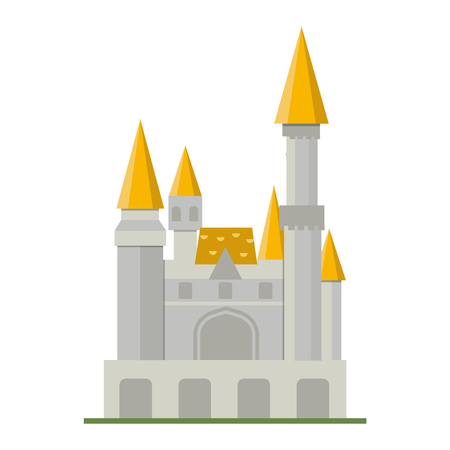 pink hills: Cartoon fairy tale castle tower icon. Cute cartoon castle architecture. Vector illustration fantasy house fairytale medieval castle. cartoon castle cartoon stronghold design fable isolated.