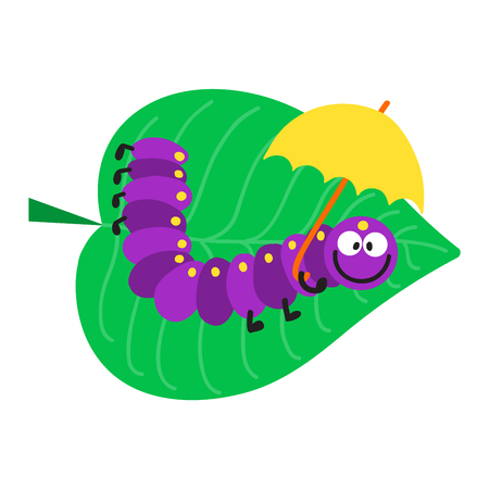 crawling: Cute hand drawn crawling caterpillar tree insect element funny little bug. Nature larva caterpillar wildlife bug vector illustration. Cartoon caterpillars cute character different animal worm.