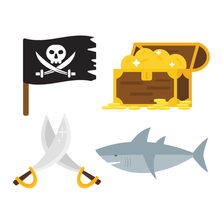 golden age: Golden age pirate adventures toy accessories pictograms treasures icons children party game icons set. Abstract vector set treasures icons. Sword gun sign, anchor weapon treasures icons collection.