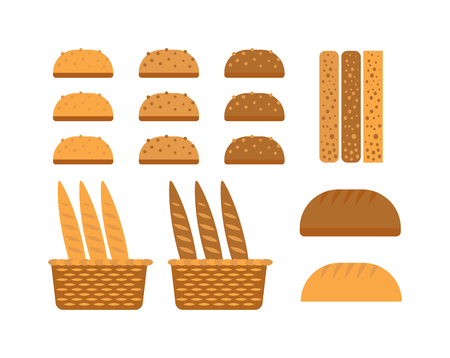 whole grain: Bread, bakery products, color vector design elements. Tasty cutting bread products seed eating group. Breakfast organic bakery bread products food, wheat loaf rye food cooking.
