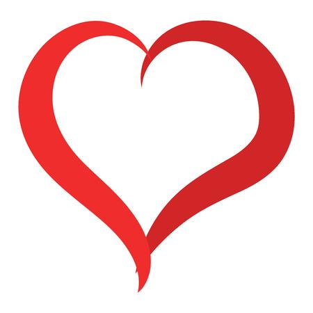 간단한 붉은 심장 날카로운 벡터 아이콘입니다. 아름 다운 컬러 카드 밝은 이모티콘 붉은 심장 기호를 축 하합니다. 붉은 심장 휴가 추상 미술 아이콘