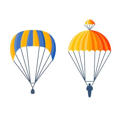 parachute jump: Illustration fly parachute flat icon cartoon graphic. Modern parachute extreme transport sky adventure journey and air parachute travel transportation flight airship. Hight jump down