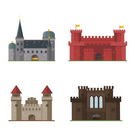 Cartoon fairy tale castle tower icon. Cute cartoon castle architecture. Vector illustration fantasy house fairytale medieval castle. Cartoon castle cartoon stronghold design fable isolated. Vetores