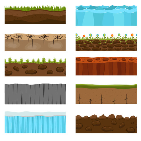 turf flowers: Illustration of cross section of ground with grass isolated on white. Agriculture country gardening ground slices piece nature cross outdoor. Meadow ecology underground ground slices vector.