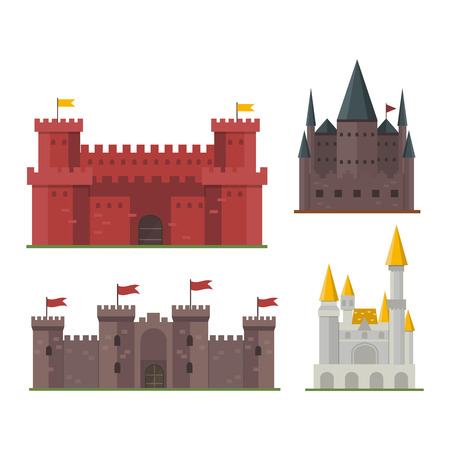 stronghold: Cartoon fairy tale castle tower icon. Cute cartoon castle architecture. Vector illustration fantasy house fairytale medieval castle. Cartoon castle cartoon stronghold design fable isolated. Illustration