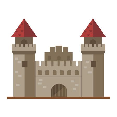 fable: Cartoon fairy tale castle tower icon. Cute cartoon castle architecture. Vector illustration fantasy house fairytale medieval castle. Cartoon castle cartoon stronghold design fable isolated. Illustration