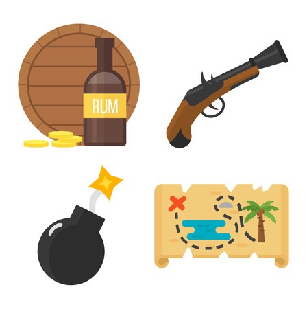 barrel bomb: Golden age pirate adventures toy accessories pictograms treasures icons children party game icons set. Abstract vector set treasures icons. Sword gun sign, anchor weapon treasures icons collection.