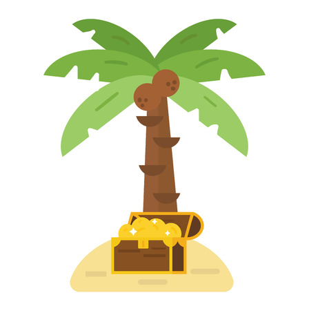Illustration of deserted treasure island. Travel sand green palm beach treasure island map symbol, ocean chest cartoon adventure. Antique summer box with gold money treasure island vector.