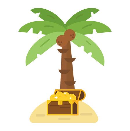 isla del tesoro: Illustration of deserted treasure island. Travel sand green palm beach treasure island map symbol, ocean chest cartoon adventure. Antique summer box with gold money treasure island vector.