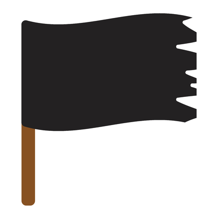 pirate flag: Jolly roger vector flag cartoon, horror dead scary wind symbol. Black roger jolly evil death danger pirate flag warning sign. Retro torn traditional pirate flag treasure dark design.