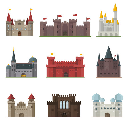Cartoon fairy tale castle tower icon. Cute cartoon castle architecture. Vector illustration fantasy house fairytale medieval castle. Cartoon castle cartoon stronghold design fable isolated.  イラスト・ベクター素材