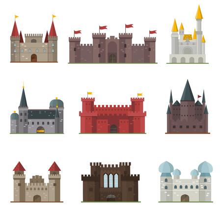 Cartoon fairy tale castle tower icon. Cute cartoon castle architecture. Vector illustration fantasy house fairytale medieval castle. Cartoon castle cartoon stronghold design fable isolated. Vettoriali