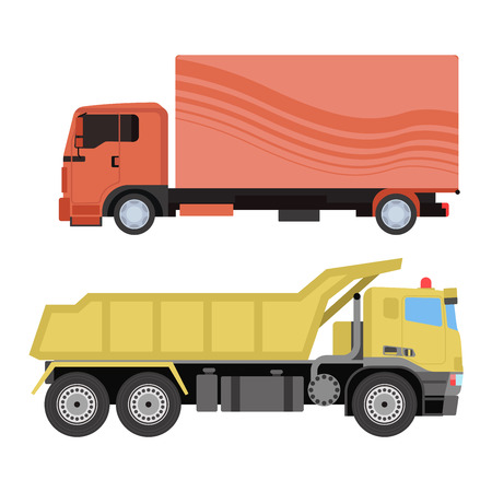 Trucks icons shipping cars vehicles cargo transportation by road. Delivery vehicle car shipping trucks and rail car with forklifts. Flat style icons trailer lorry traffic illustration. Illustration