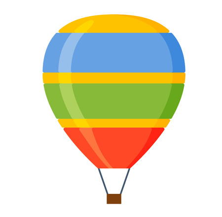 aerostat: Illustration aerostats flat icons cartoon graphic. Modern balloon aerostat transport sky hot fly adventure journey and old air ballon travel transportation flight airship. Illustration