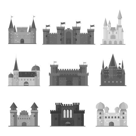hadas de dibujos animados icono de la torre del castillo del cuento. arquitectura castillo de la historieta linda. Ilustración de la fantasía de cuento de hadas casa castillo medieval. Kingstone aislado bastión castillo de la historieta de dibujos animados de diseño fábula. Ilustración de vector