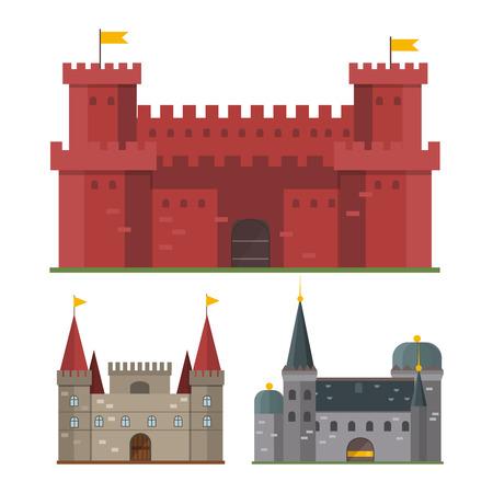 Cartoon fairy tale castle tower icon. Cute cartoon castle architecture. illustration fantasy house fairytale medieval castle. Kingstone cartoon castle cartoon stronghold design fable isolated. Vetores