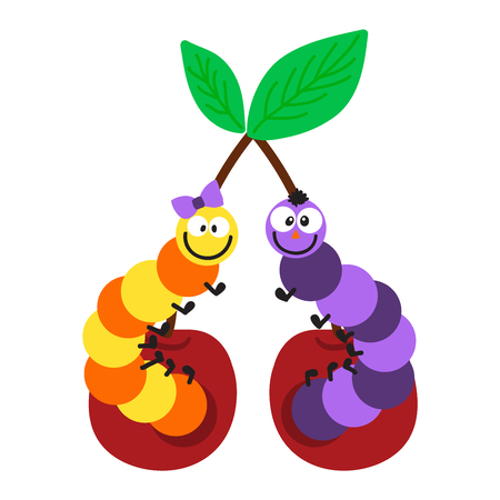 little insect: Cute  crawling caterpillar tree insect element funny little bug. Nature larva caterpillar wildlife bug illustration. Cartoon caterpillars cute character different animal worm.