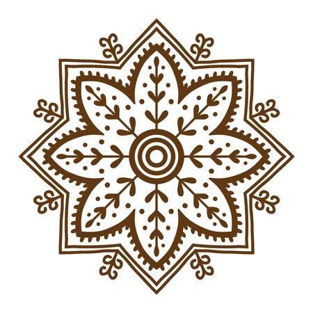 Dibujados A Mano De Henna Flores Patrón Abstracto De La Mandala De ...