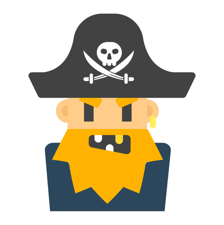 oldman: Captain pirate character costume isolated silhouette. Cartoon angry captain sailor pirate cartoon flat. Angry pirate costume character, comic man face avatar