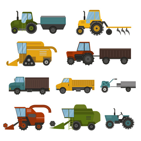 plowing: Set of different types of agricultural vehicles and machines harvesters, combines and excavators. Icon set of agricultural harvest machines with accessories for plowing, mowing, planting harvesting.