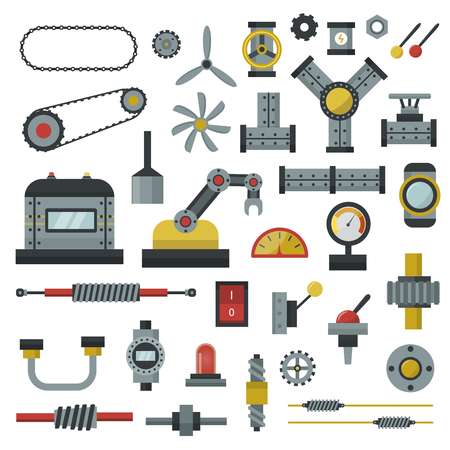 Parts of machinery flat icons set manufacturing work detail design. Gear mechanical equipment part industry technical engine. technology icon set industry engineering technical factory tool. Stock Illustratie