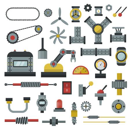 Teile von Maschinen Flach Icons Set Detail Design Fertigungsarbeiten. Getriebe mechanische Ausrüstung Teil der Industrie technische Motor. Technologie-Icon-Set Industrie-Engineering technische Fabrikwerkzeug.