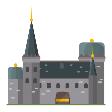 pink hills: Cartoon fairy tale castle tower icon. Cute cartoon castle architecture. Vector illustration fantasy house fairytale medieval castle. Kingstone cartoon castle cartoon stronghold design fable isolated.