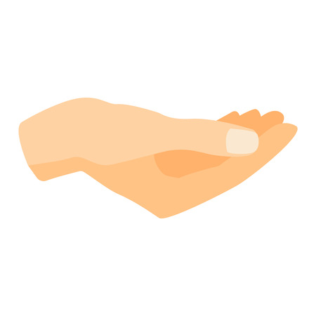 human touch: Flat human hands isolated creativity concept. Hands fingers symbol isolated, flat style hands holding. Touch vector human elements. People body parts, holding some things