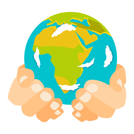 People holding earth. globe in hands concept of happy earth day eco friendly, help ecology, future life, natural. Earth in hands isolated on black background modern design vector conept Illustration