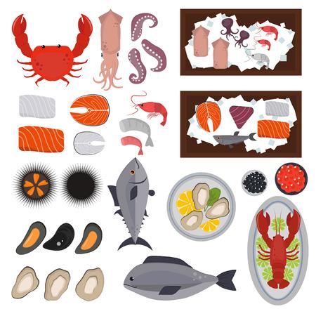 Seafood set design flat fish and crab. Seafood fish, seafood platter, lobster and crab, food oyster, fresh seafood, shrimp and menu sea food, octopus animal, shellfish. Fresh sea food collage