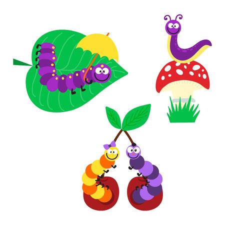 crawling creature: Cute hand drawn crawling caterpillar tree insect element funny little bug. Nature larva caterpillar wildlife bug vector illustration. Cartoon caterpillars cute character different animal worm.