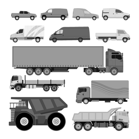 forklifts: Trucks icons vector shipping cars vehicles cargo transportation by road. Delivery vehicle car shipping trucks and rail car with forklifts. Flat style icons trailer lorry traffic illustration. Illustration