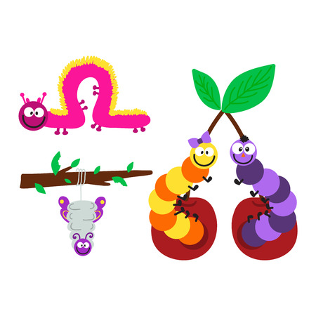 caterpillars: Cute hand drawn crawling caterpillar tree insect element funny little bug. Nature larva caterpillar wildlife bug vector illustration. Cartoon caterpillars cute character different animal worm.