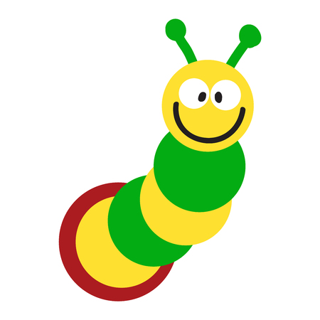 little insect: Cute hand drawn crawling caterpillar tree insect element funny little bug. Nature larva caterpillar wildlife bug vector illustration. Cartoon caterpillars cute character different animal worm.