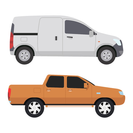 Car vehicle mini van bus transport type design sign technology style vector. Generic car mini van design flat vector illustration isolated on white. Transport mini bus object