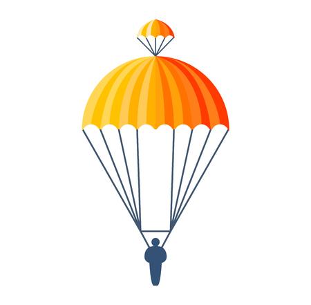 Illustratie fly parachute flat icon cartoon afbeelding. Modern parachute hemel extreme transport avontuurlijke reis en lucht parachute vervoer vlucht luchtschip. Hight naar beneden springen Stockfoto - 61211926