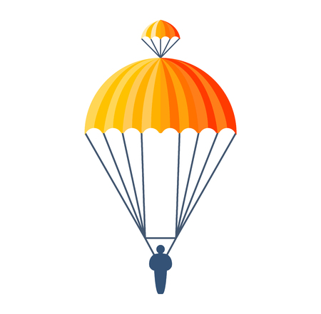 Illustration fly parachute flat icon cartoon graphic. Modern parachute extreme transport sky adventure journey and air parachute travel transportation flight airship. Hight jump down