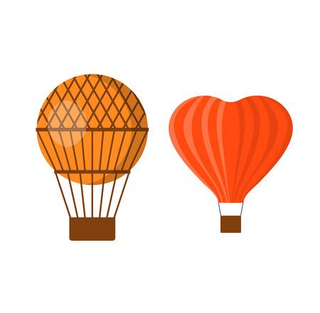 airship: Illustration aerostats flat icons cartoon graphic. Modern balloon aerostat transport sky hot fly adventure journey and old vector air ballon travel transportation flight airship.