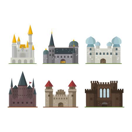 Cartoon fairy tale kasteeltoren icoon. Leuke cartoon kasteel architectuur. Vector illustratie fantasy huis sprookjesachtige middeleeuwse kasteel. Kingstone cartoon kasteel cartoon bolwerk ontwerp fabel geïsoleerd.