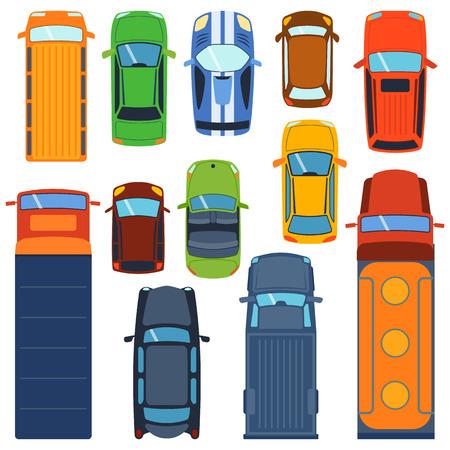 coches vector conjunto de iconos. Desde arriba la vista superior del coche. Incluye carro sedán furgoneta comercial camión, cabrio, coche deportivo, vehículos con portón trasero. colección de vehículos de transporte de coche del diseño de la vista superior van a motor.